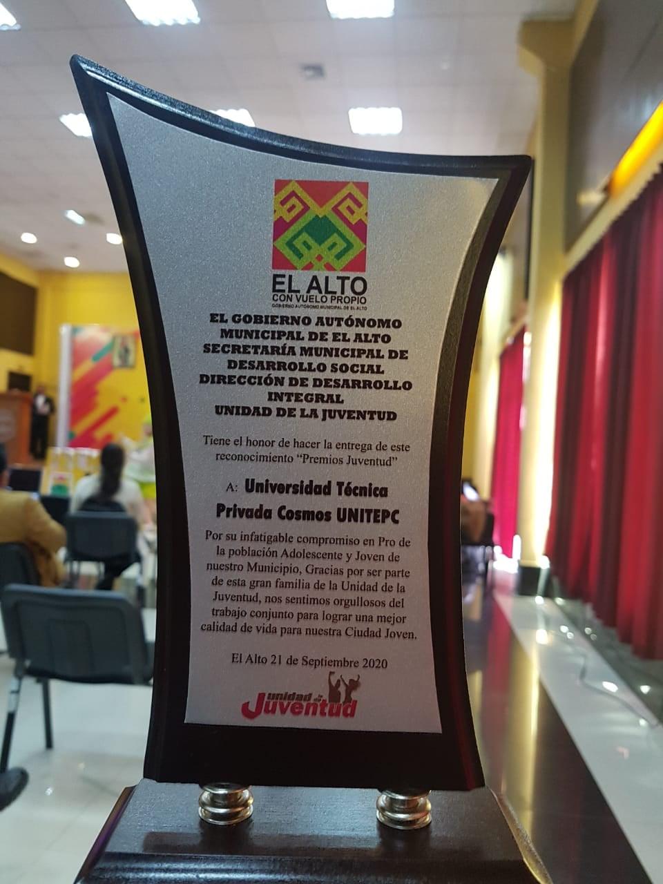 Reconocimiento a la Unitepc El Alto por el Gobierno Autónomo Municipal de la Ciudad de El Alto (GAMEA)